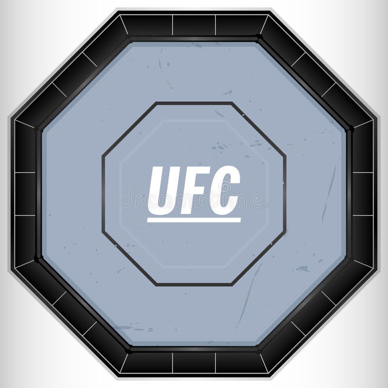 UFC Ring. An aerial view illustration of a caged fighting ring stock illustration