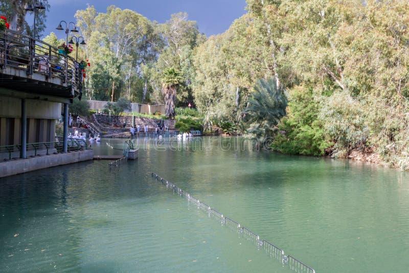 Ufer von Jordan River am Tauf- Standort, Israel lizenzfreies stockbild