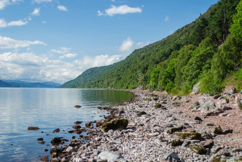 Ufer von Schottlands Loch Ness stockbilder