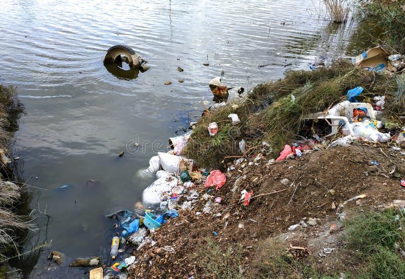 Ufer wird mit Abfall verunreinigt lizenzfreie stockfotos