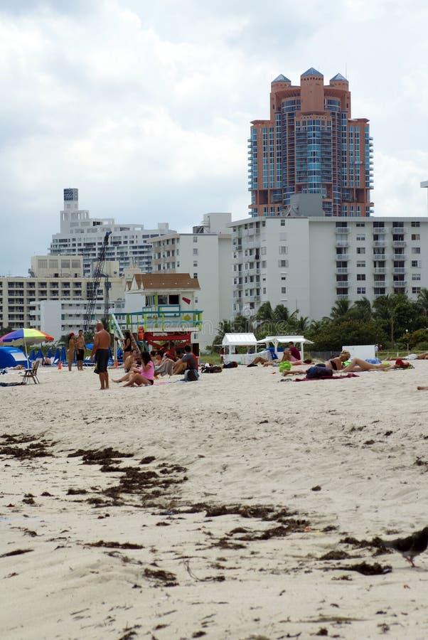 Ufergegend auf Südstrand in Miami stockbild