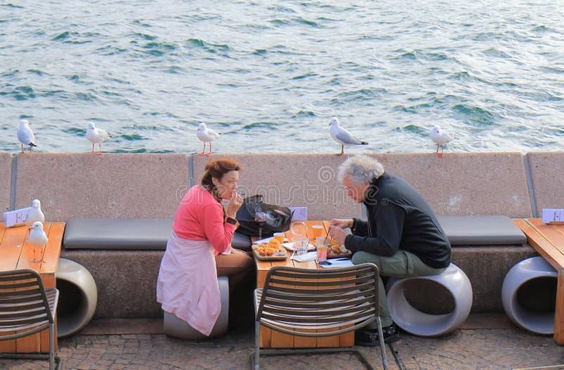 Ufergegendrestaurant, das Sydney Australia speist stockfoto