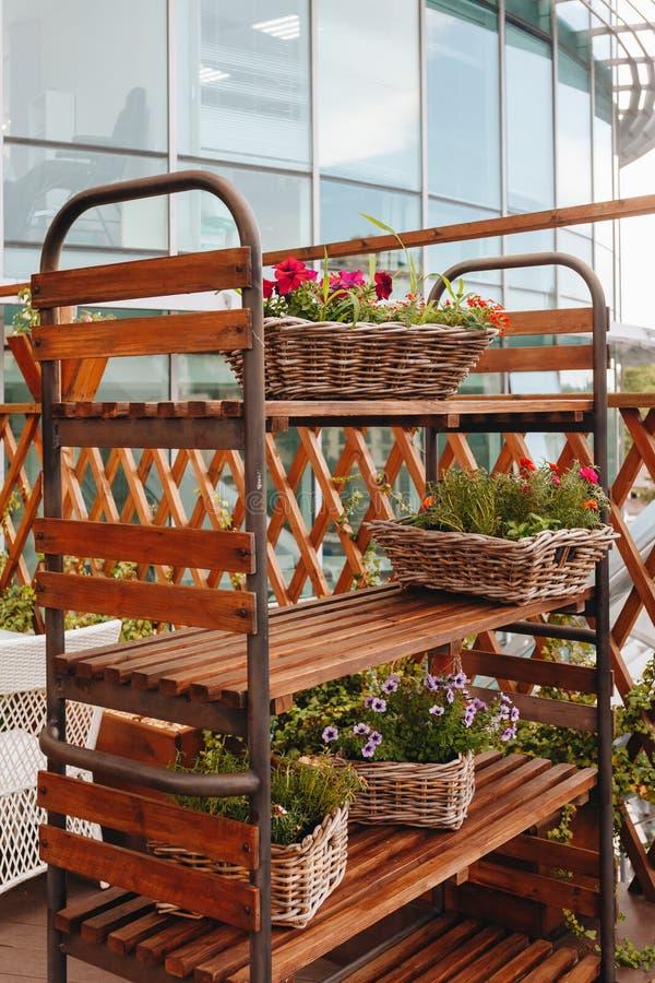 Uffici di vestaglia con scaffali di legno su cui ci sono vasi con bellissimi fiori fotografia stock libera da diritti