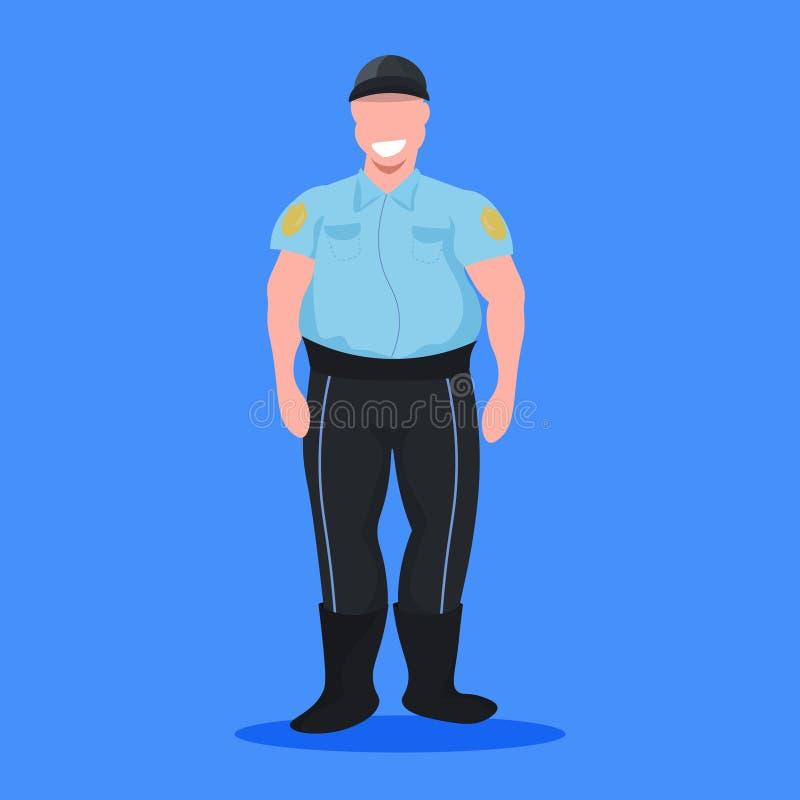 Ufficiale dell'uomo della polizia nel personaggio dei cartoni animati professionale di concetto di occupazione della guardia giur illustrazione vettoriale