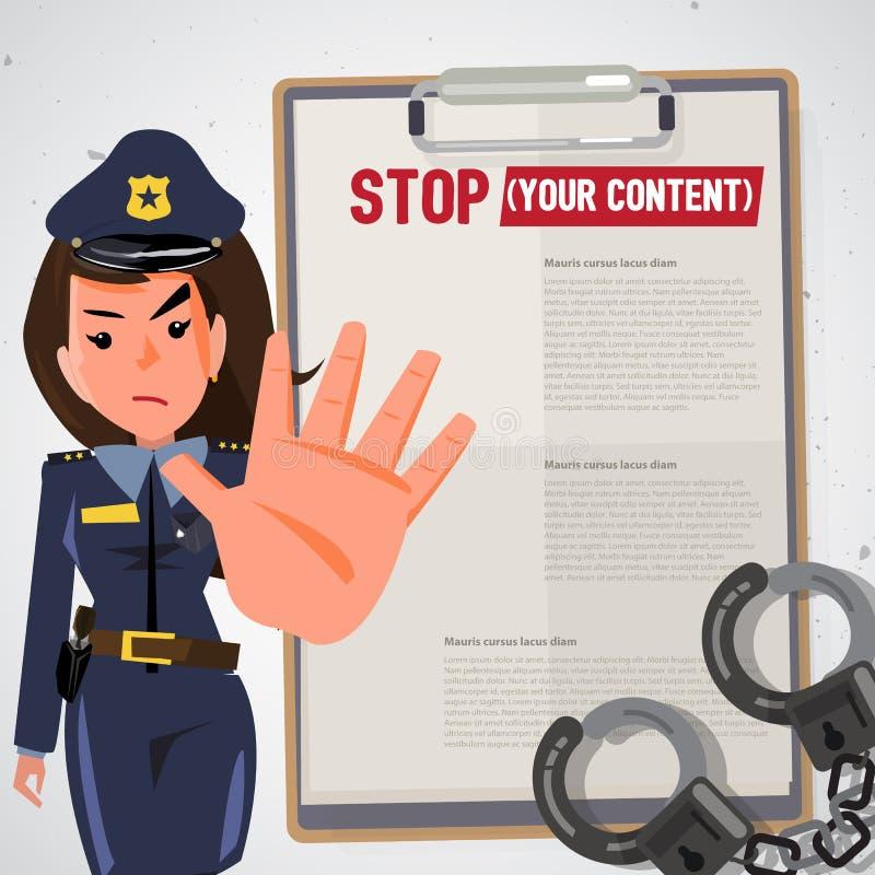 Ufficiale di polizia Le donne della polizia ostacolano la mano nel gesto di arresto carbone illustrazione vettoriale