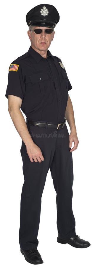 Ufficiale di polizia serio Cop o poliziotto isolato immagini stock libere da diritti