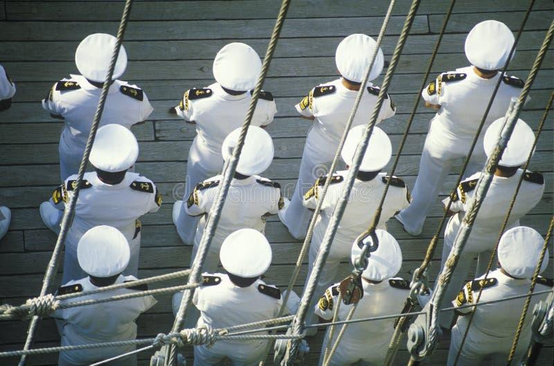Ufficiali di marina messicani sulla nave alta, New York, New York immagini stock libere da diritti