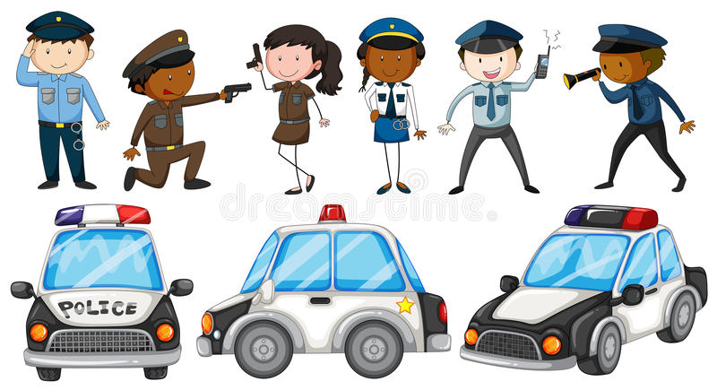 Ufficiali di polizia e volanti della polizia illustrazione di stock