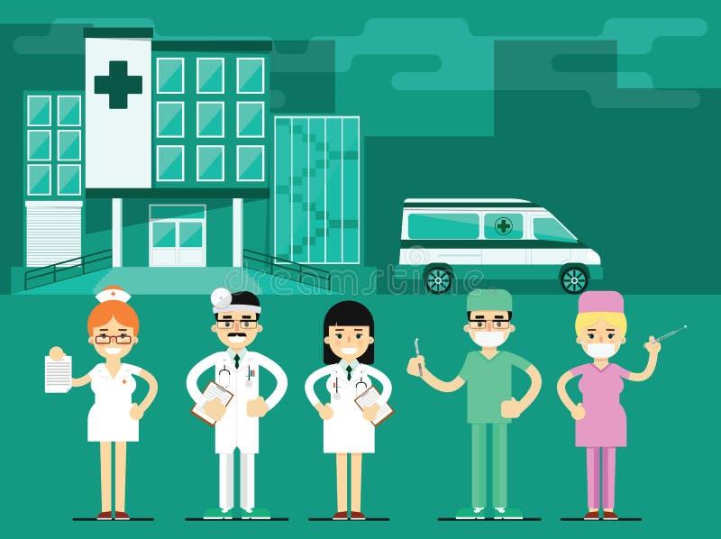 Ufficiali sanitari nei precedenti dell'ospedale, vettore royalty illustrazione gratis
