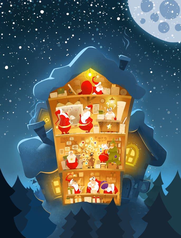 Ufficio antiquato del ` s di Santa della cartolina del nuovo anno di natale fotografie stock libere da diritti