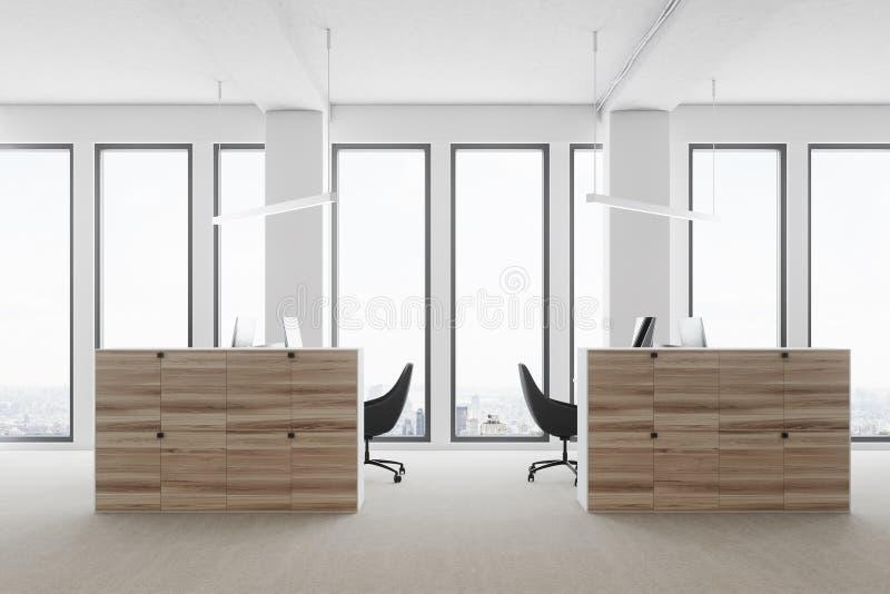 Ufficio Legno Bianco : Ufficio bianco dello spazio aperto lato di legno dei cubicoli