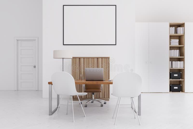 Ufficio Bianco E Legno : Ufficio bianco e di legno piccolo manifesto illustrazione di