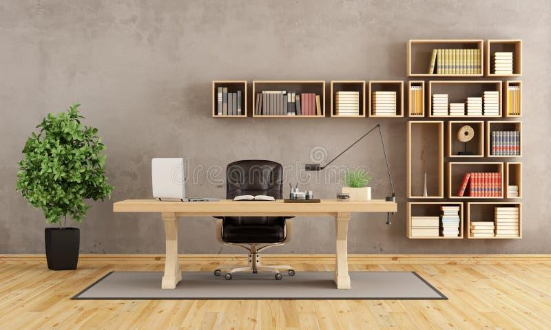 Ufficio con mobilia di legno illustrazione vettoriale