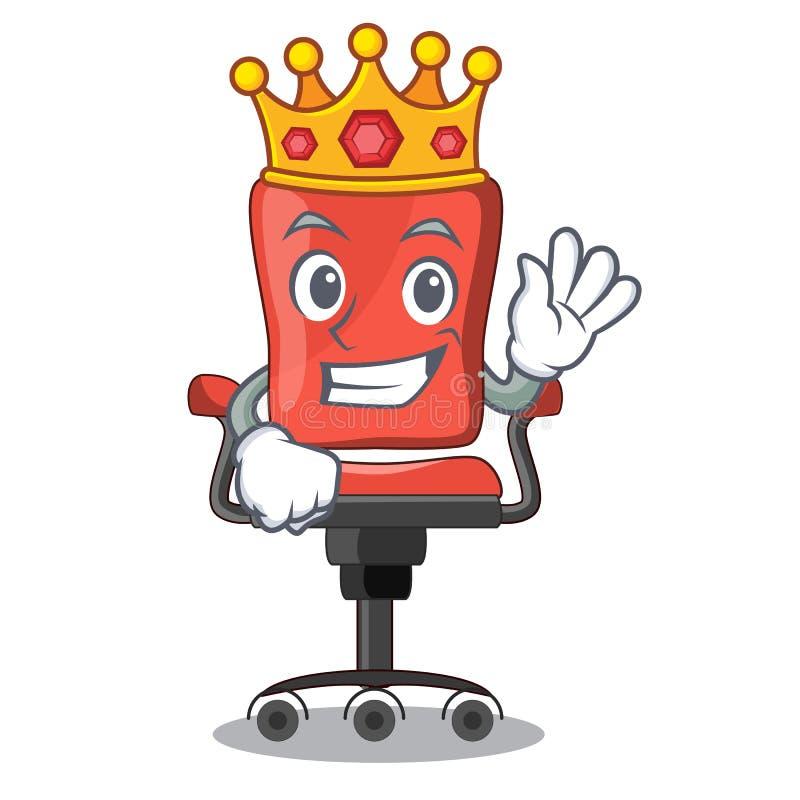 Ufficio della sedia di scrittorio di re isolato sulla mascotte royalty illustrazione gratis