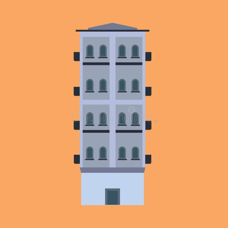 Ufficio di costruzione di architettura dell'icona di vettore di affari della città Bene immobile esteriore della città dell'edifi illustrazione di stock