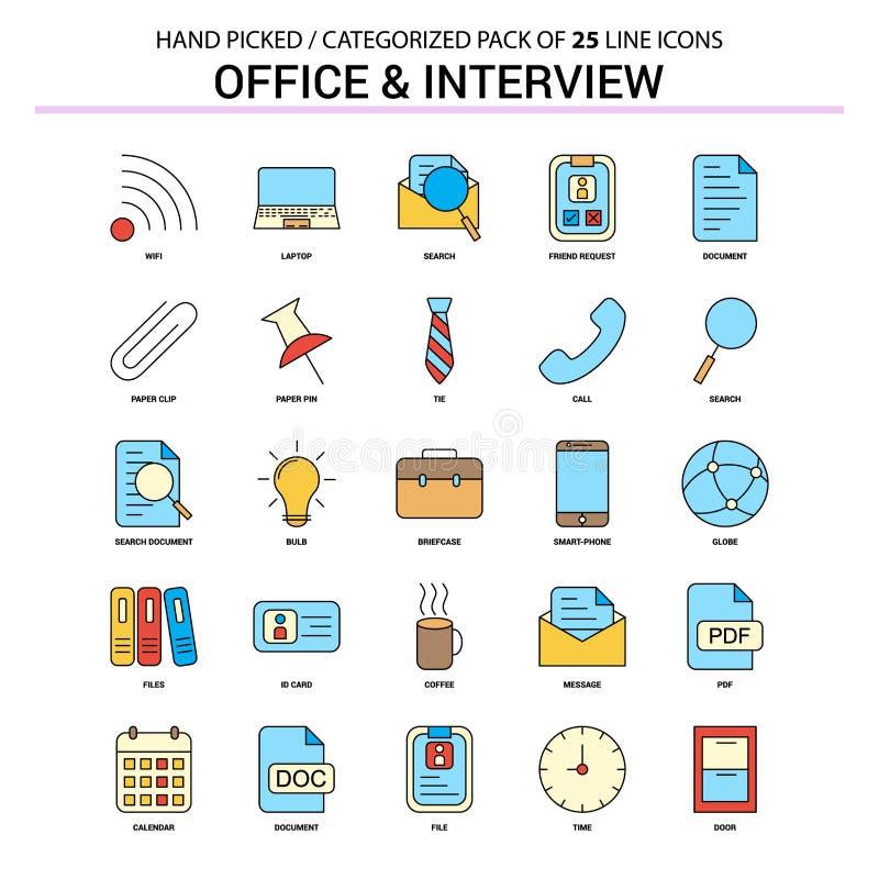 Ufficio e linea piana insieme dell'icona - icone di intervista di concetto di affari illustrazione vettoriale