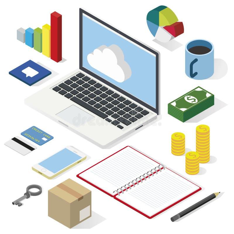 Ufficio e posto di lavoro di Isometry illustrazione di stock