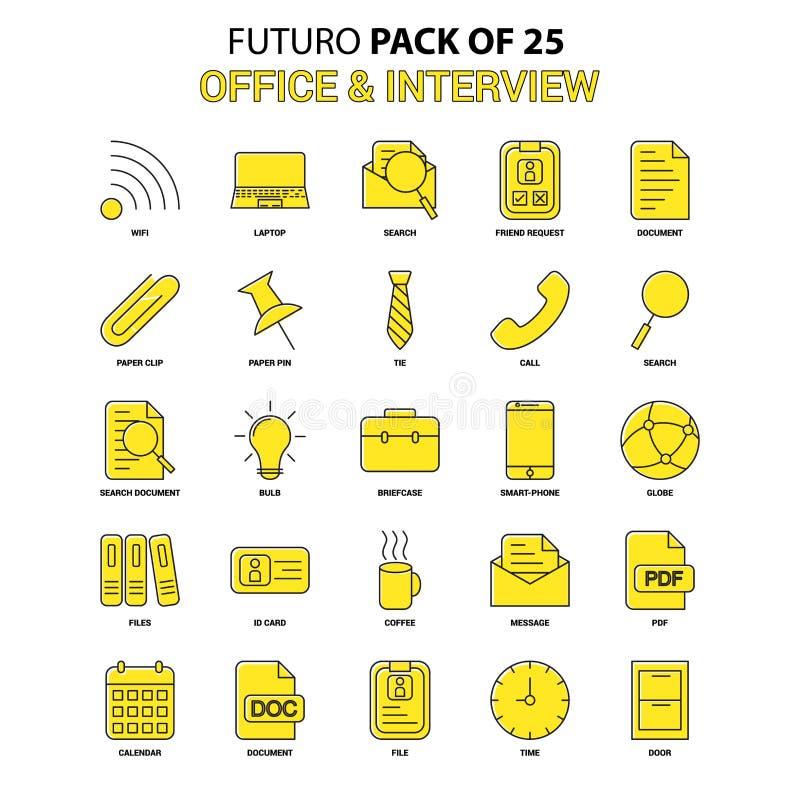 Ufficio ed insieme dell'icona di intervista Ultima icona gialla di progettazione di Futuro illustrazione vettoriale