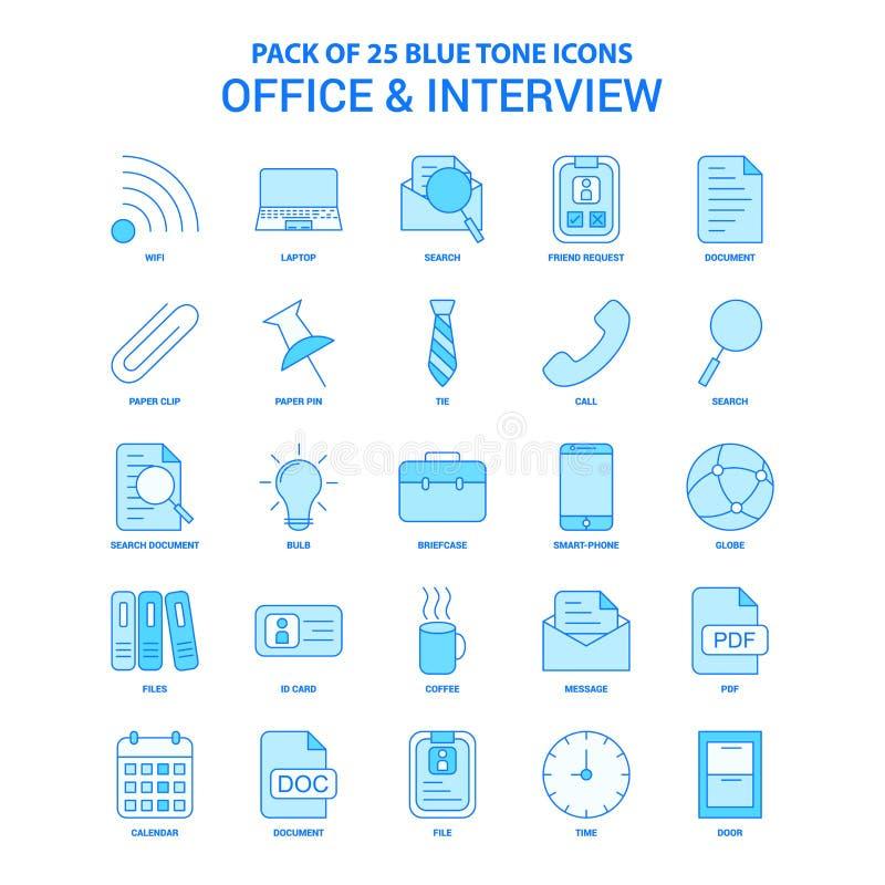 Ufficio ed intervista Tone Icon Pack blu - 25 insiemi dell'icona illustrazione di stock