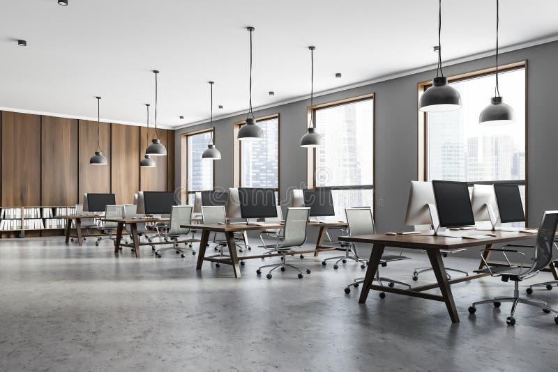 Ufficio grigio e di legno dello spazio aperto illustrazione di stock