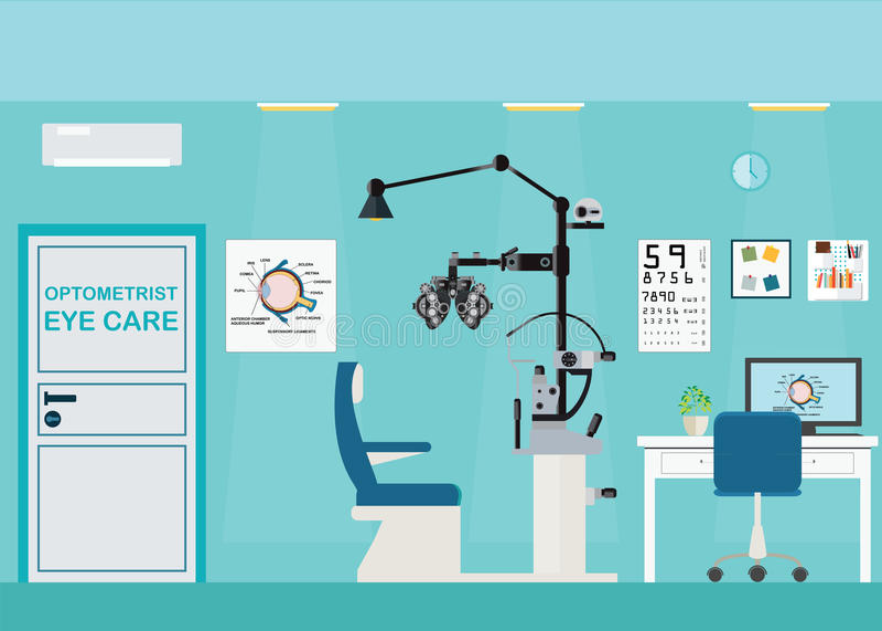 Ufficio interno dell'oftalmologo con Phoropter illustrazione di stock