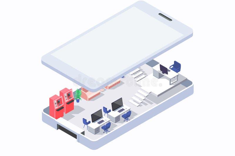 Ufficio isometrico 3d in telefono con il bancomat ed i computer mobili illustrazione vettoriale