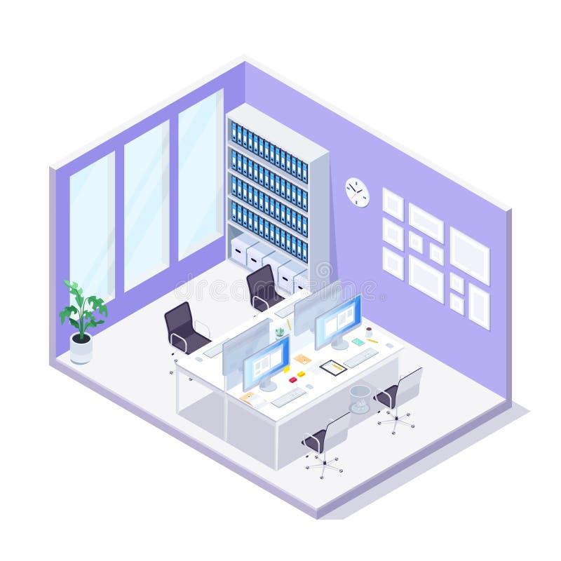 Ufficio isometrico interiore dell'ufficio 3D royalty illustrazione gratis