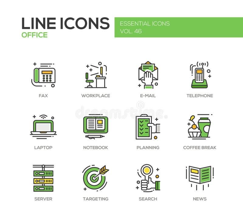 Ufficio - linea piana icone di progettazione messe illustrazione di stock