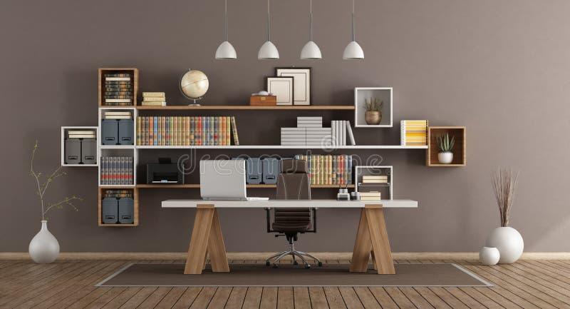 Ufficio moderno con mobilia di legno royalty illustrazione gratis