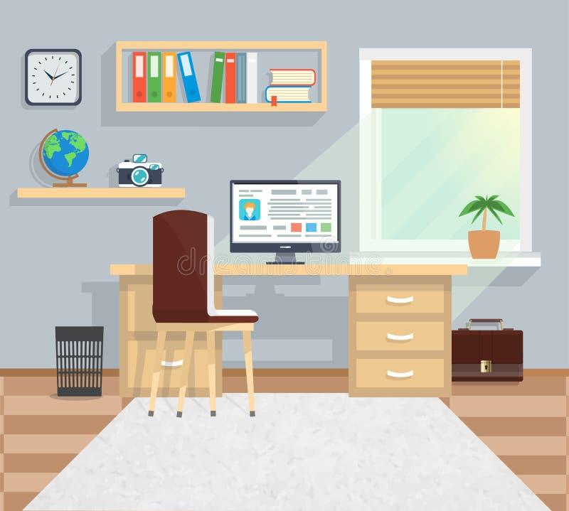 Ufficio nello stile di Minimalistic ed in flusso di lavoro di colore illustrazione di stock