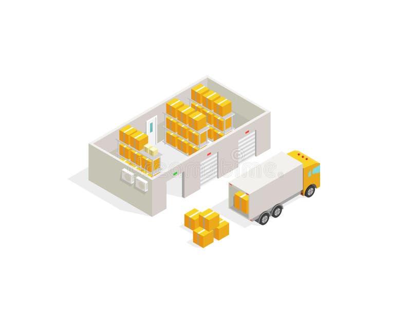 Ufficio postale del magazzino, consegna del pacchetto Scatole di consegna di trasporto di logistica e camion di carico royalty illustrazione gratis