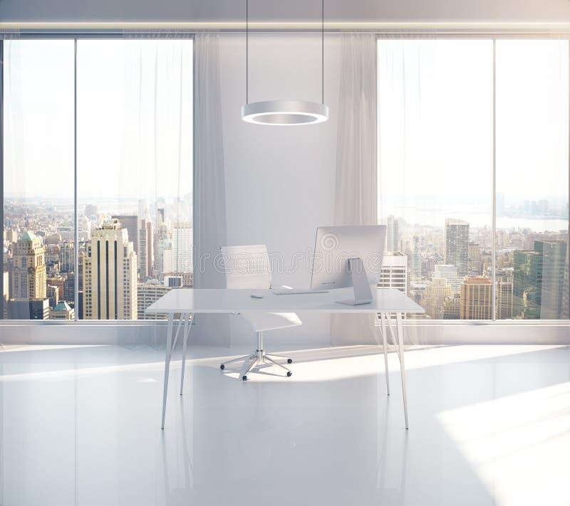 Ufficio soleggiato con la vista di NY illustrazione di stock