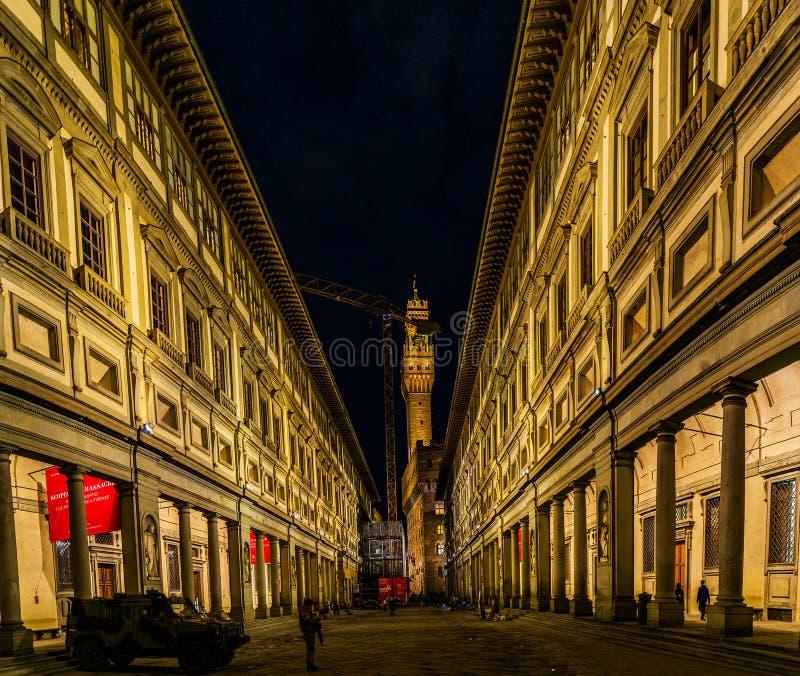 Uffizi galleri i centrala Florence, Tuscany, Italien arkivbild