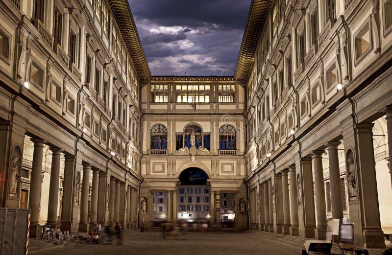 Uffizi galleri. Nattskott arkivbilder