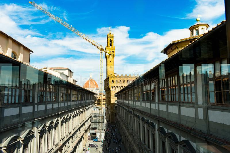 The Uffizi gallery with a construction crane. Florence, Tuscany / Italy royalty free stock images