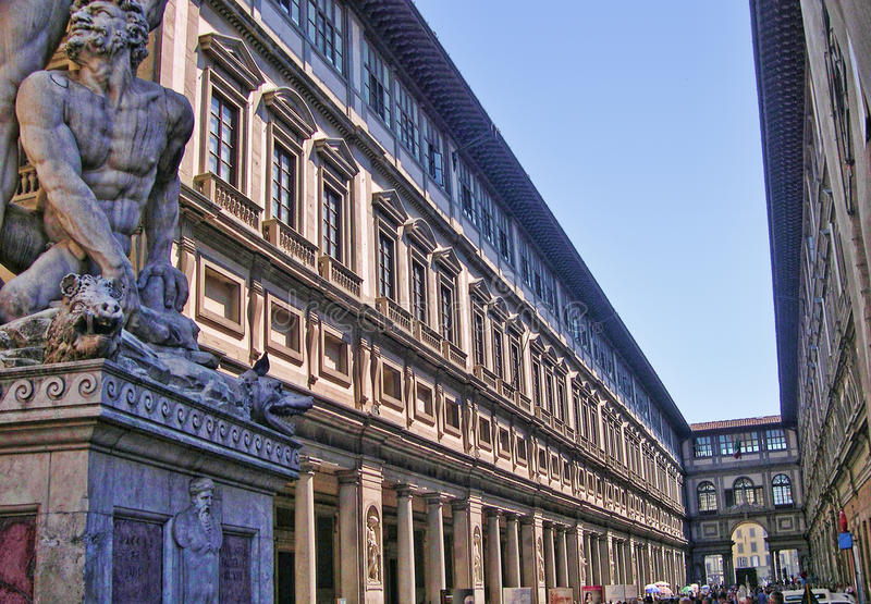 The Uffizi Gallery in Florence. Built in the 15th Century this is now the Uffizi Gallery, originally the Offices of the Medici Banking Organisation stock photography