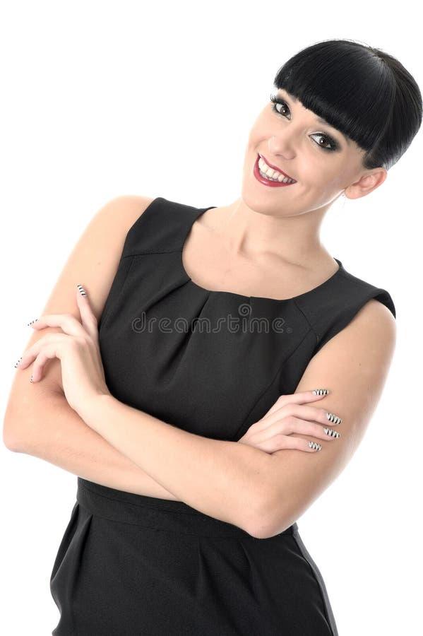 Ufna Asertoryczna Pozytywna Szczęśliwa kobieta ono Uśmiecha się Z rękami Krzyżować zdjęcie stock