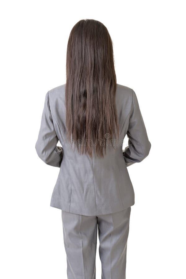 Ufna Azjatycka biznesowa kobieta trwanie z powrotem obraz stock