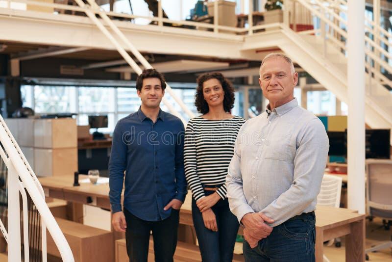 Ufna grupa biznesowi profesjonaliści stoi w nowożytnym biurze zdjęcia royalty free