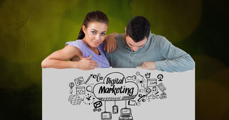 Ufna kobieta z mężczyzna patrzeje cyfrowe marketingowe ikony na plakacie ilustracja wektor