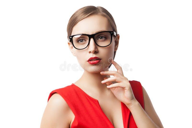 Ufna młoda kobieta w szkłach zdjęcie stock