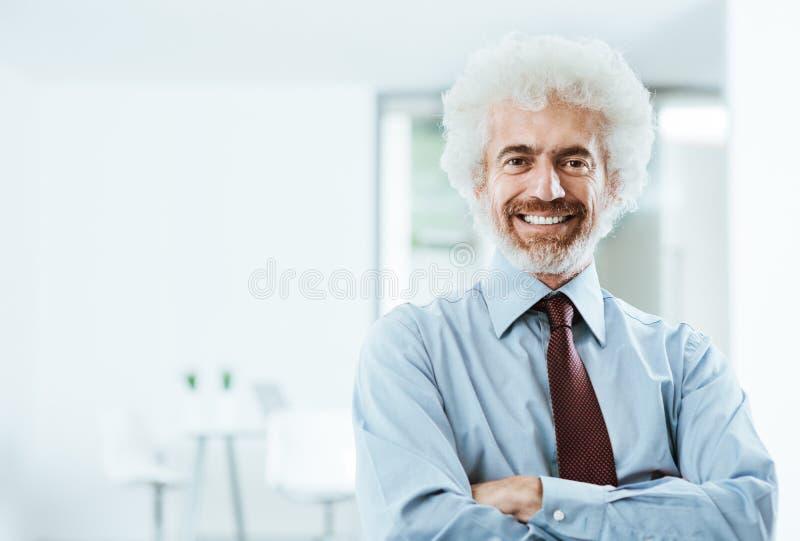 Ufny biznesmen pozuje w biurze fotografia stock