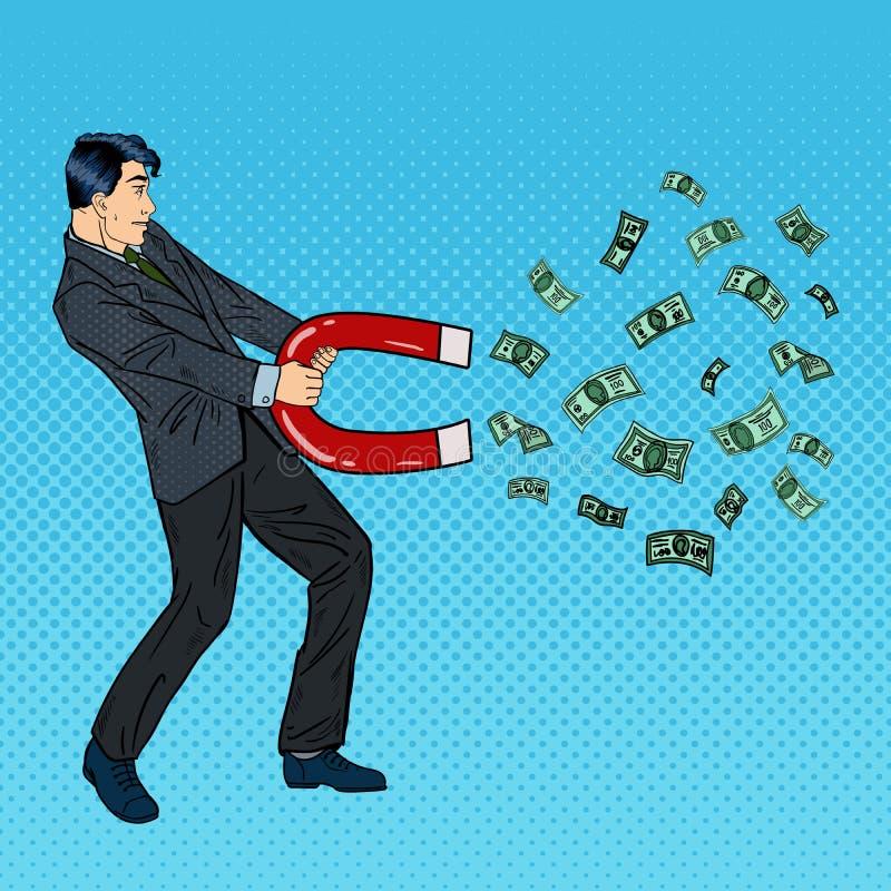 Ufny biznesmen Przyciąga pieniądze z Wielkim magnesem Wystrzał sztuka ilustracji