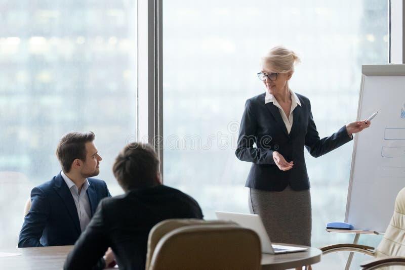 Ufny bizneswoman trenuje em robi whiteboard prezentaci zdjęcia stock