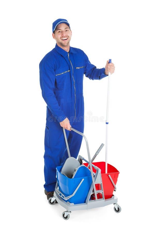 Ufny cleaner pokazuje aprobaty fotografia stock