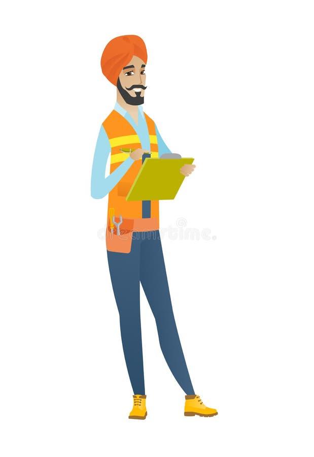 Ufny hinduski budynku inspektor z schowkiem ilustracja wektor