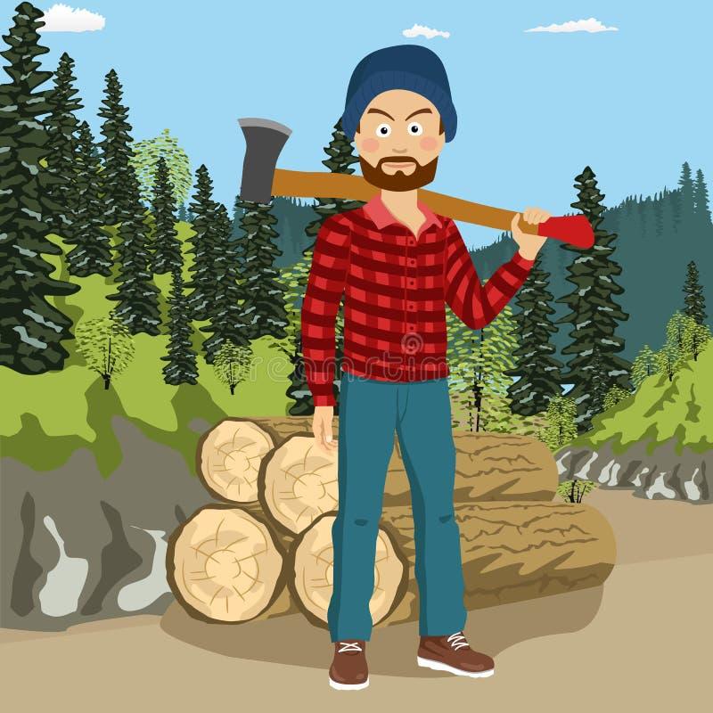 Ufny młody brodaty lumberjack mężczyzna trzyma dużą cioskę na ramieniu w lesie ilustracja wektor