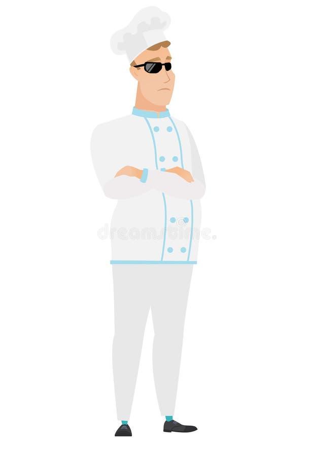Ufny szefa kuchni kucharz w okularach przeciwsłonecznych ilustracji