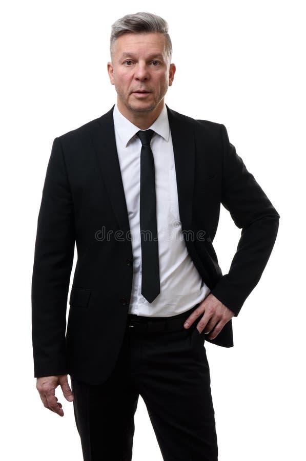 Ufny w średnim wieku biznesowy mężczyzna odizolowywający zdjęcie stock