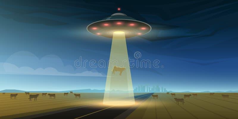 UFO ή πετώντας πιατάκι στο διάστημα Οι αλλοδαποί προώθησαν ένα διαστημικό σκάφος Μια λάμψη του φωτός λάμπει στη γη Μικρά πράσινα  απεικόνιση αποθεμάτων